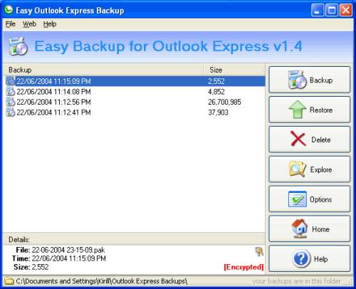 Capture d'écran Easy Backup for Outlook Express