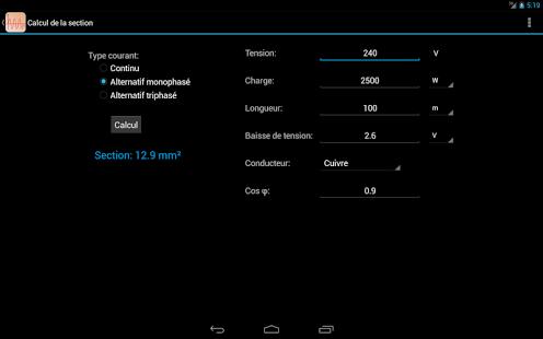 Capture d'écran Calculs électriques