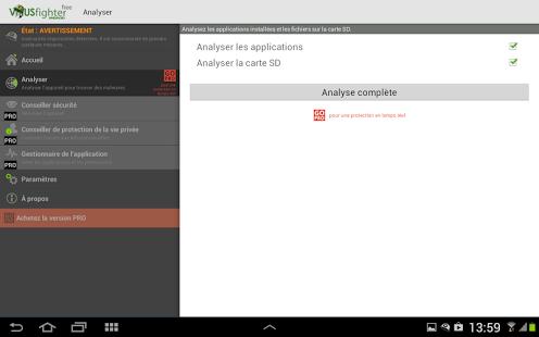 Capture d'écran VIRUSfighter Antivirus FREE