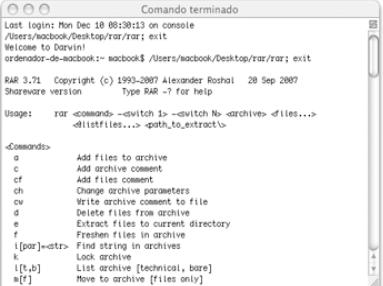 Capture d'écran WinRAR Mac