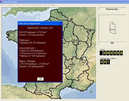 Capture d'écran Les départements français