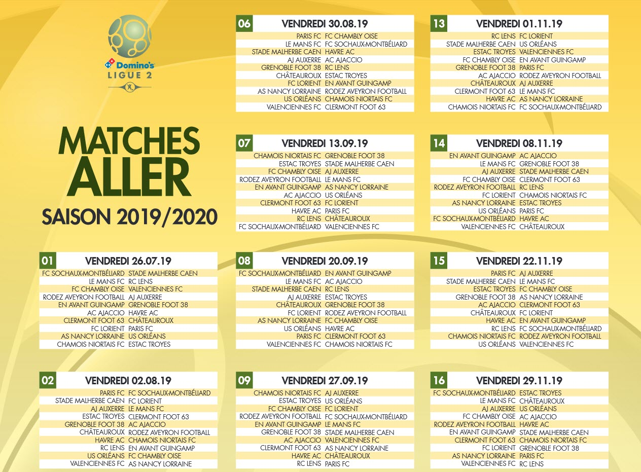 Capture d'écran Calendrier Ligue 2 PDF 2019 – 2020