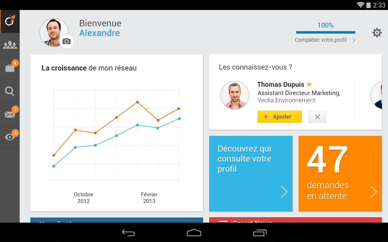 Capture d'écran Viadeo Android