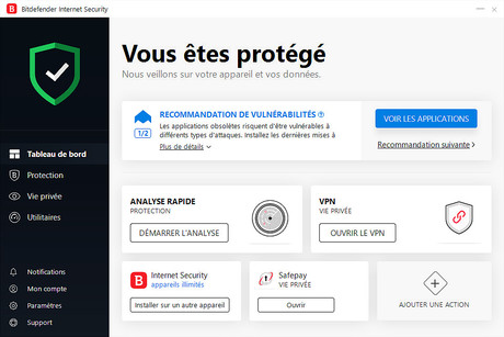 Capture d'écran Bitdefender Internet Security 2020
