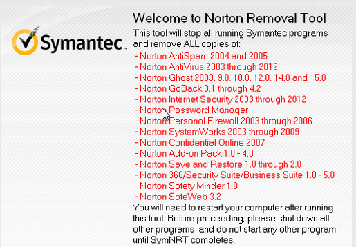 Capture d'écran Norton Removal Tool