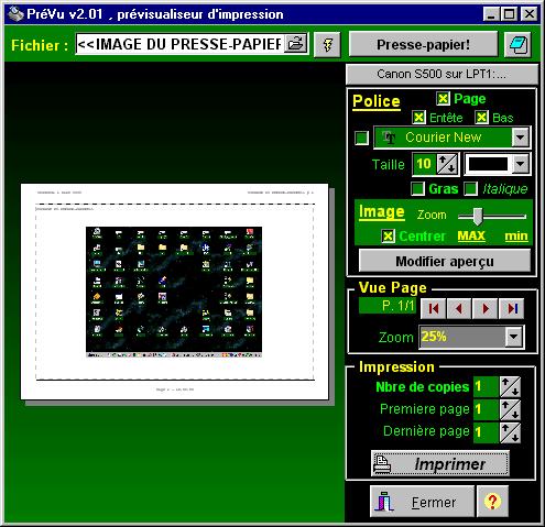 Capture d'écran PréVu