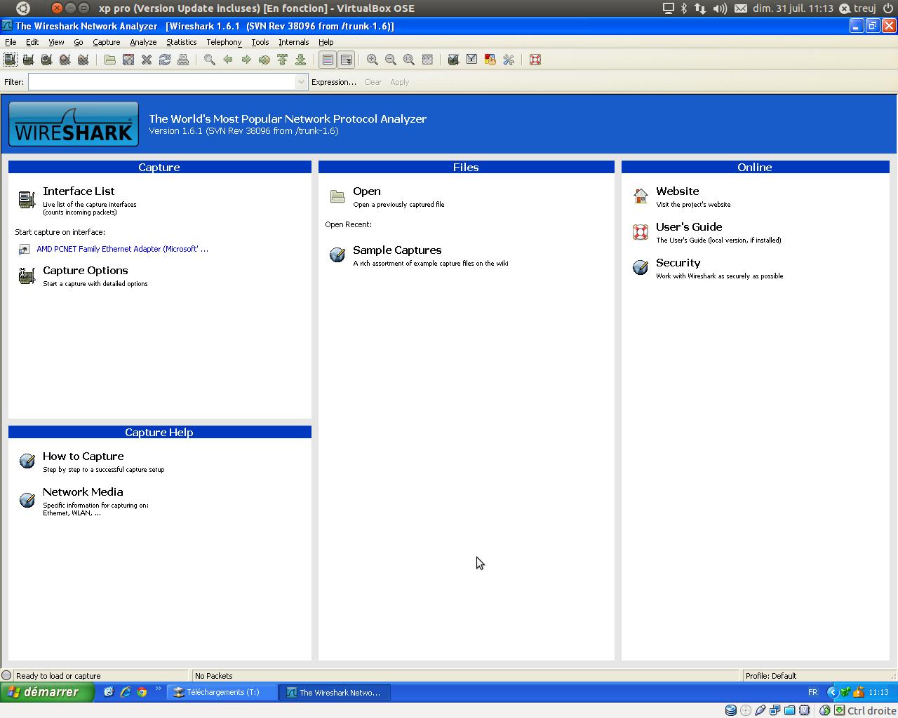Capture d'écran Wireshark