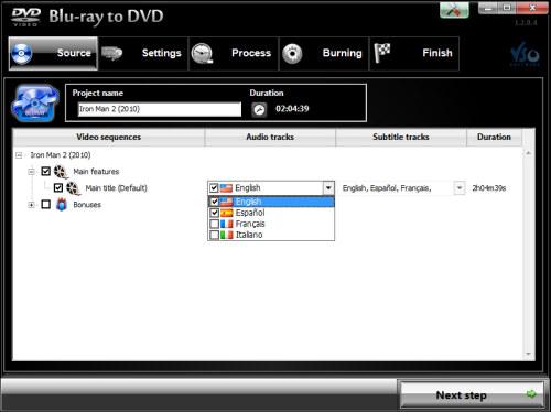 Capture d'écran Blu-ray vers DVD