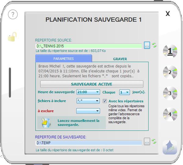 Capture d'écran QUIET-BACKUP