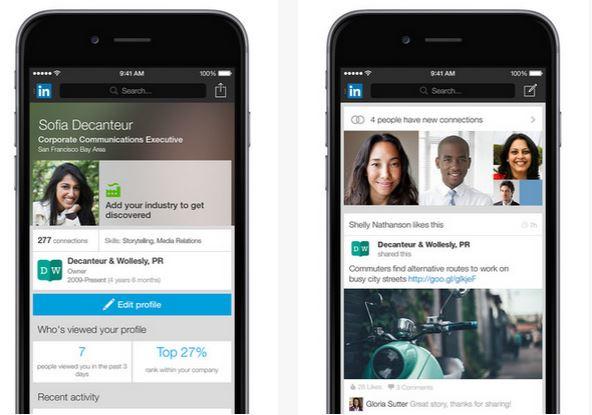 Capture d'écran LinkedIn iOS