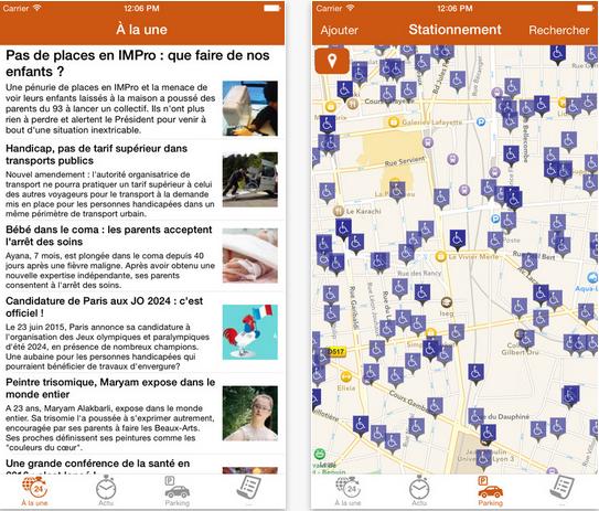 Capture d'écran Handicap.fr iOS