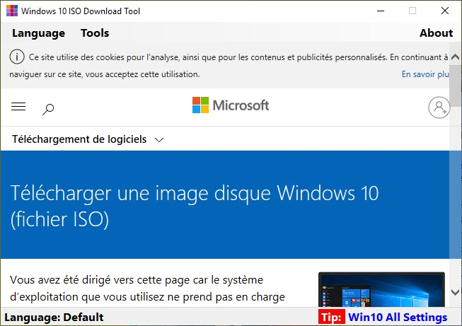 Capture d'écran Windows 10 ISO Download Tool