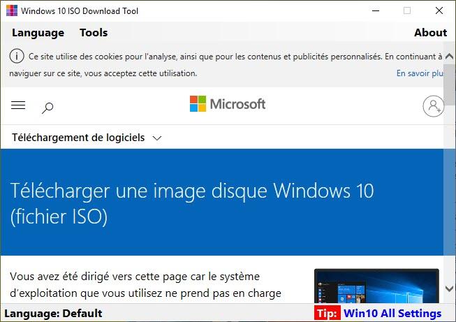 Capture d'écran Windows 10 ISO Download Tool