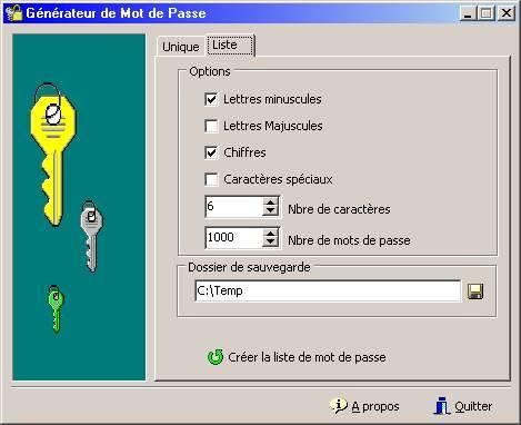 Capture d'écran Générateur de Mot de Passe