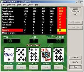 Capture d'écran BVS Video Poker