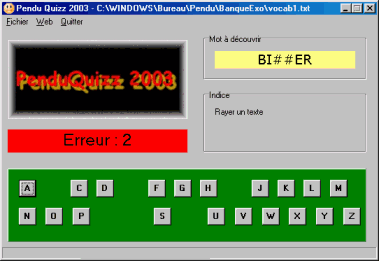 Capture d'écran PenduQuizz 2003