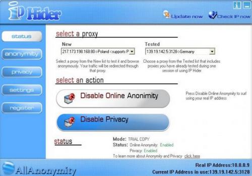 Capture d'écran IP Hider