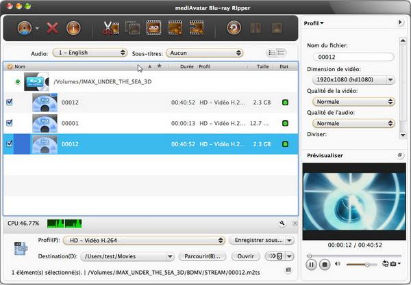 Capture d'écran mediAvatar Blu-ray Ripper pour Mac
