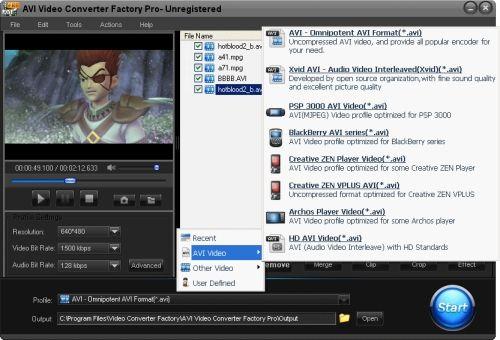 Capture d'écran AVI Video Converter Factory Pro