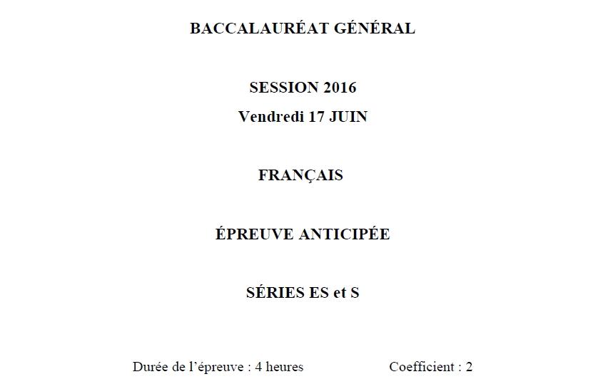 Capture d'écran Sujet Bac 2016 Français Série L