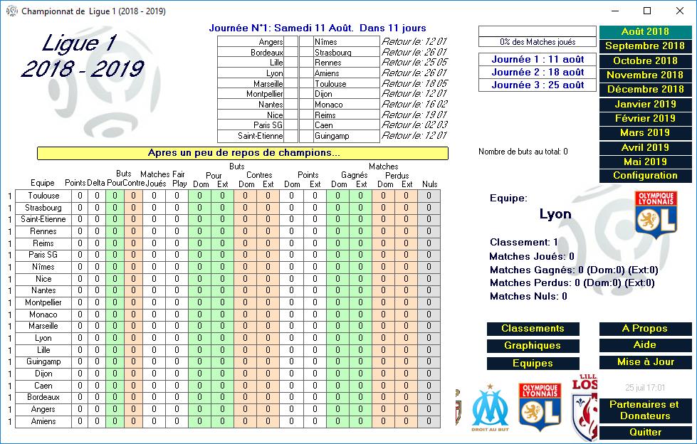 Capture d'écran Ligue 1 2018-2019