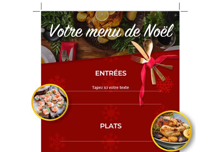 Capture d'écran Modèle Word – Menu de Noël