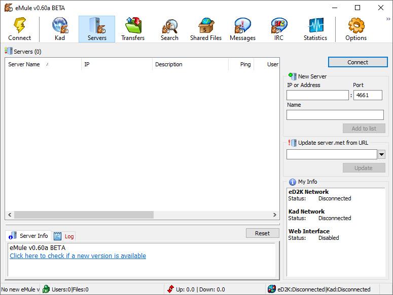 Capture d'écran eMule