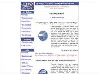 Capture d'écran SpyArsenal.com Internet Spy