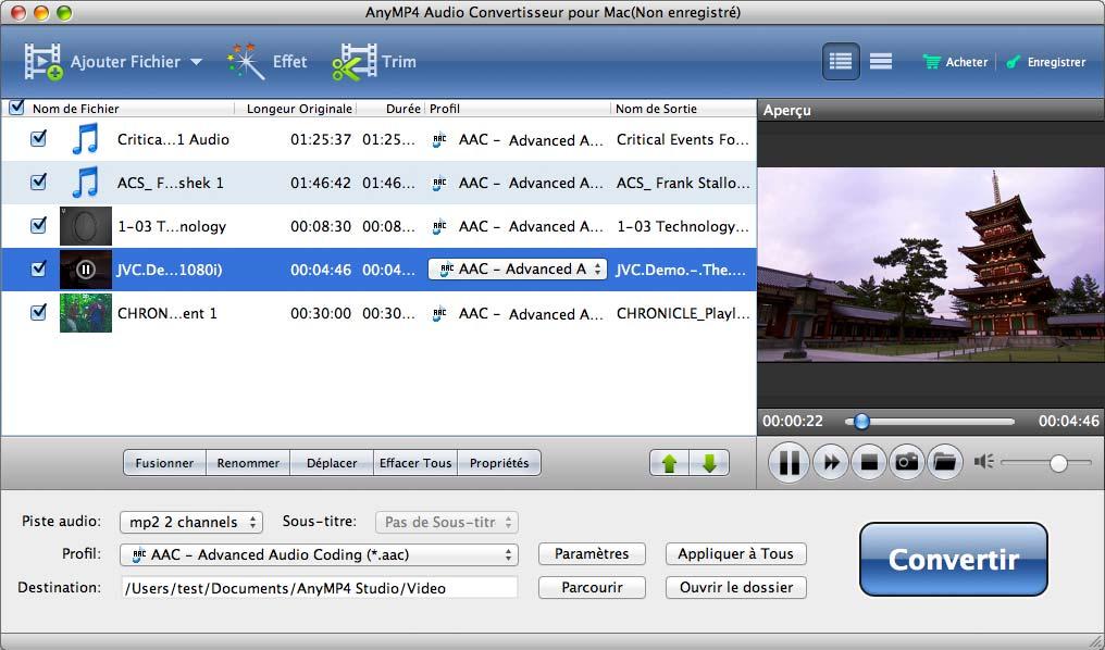 Capture d'écran AnyMP4 Audio Convertisseur pour Mac