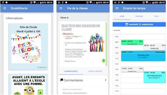 Capture d'écran EcoleDirecte