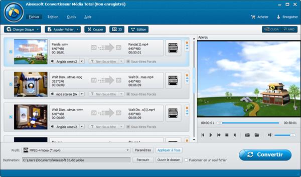 Capture d'écran Aiseesoft Convertisseur Média Total