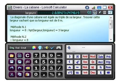 Capture d'écran Lorisoft Calculator
