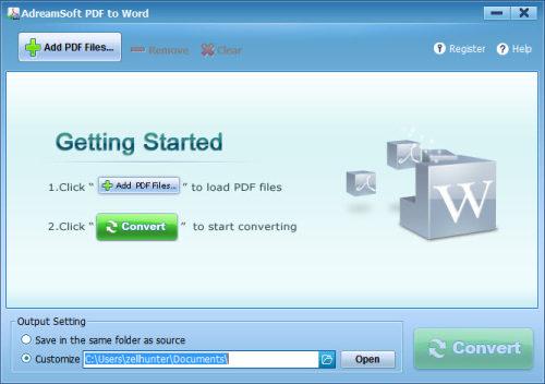 Capture d'écran Adreamsoft PDF to Word Converter