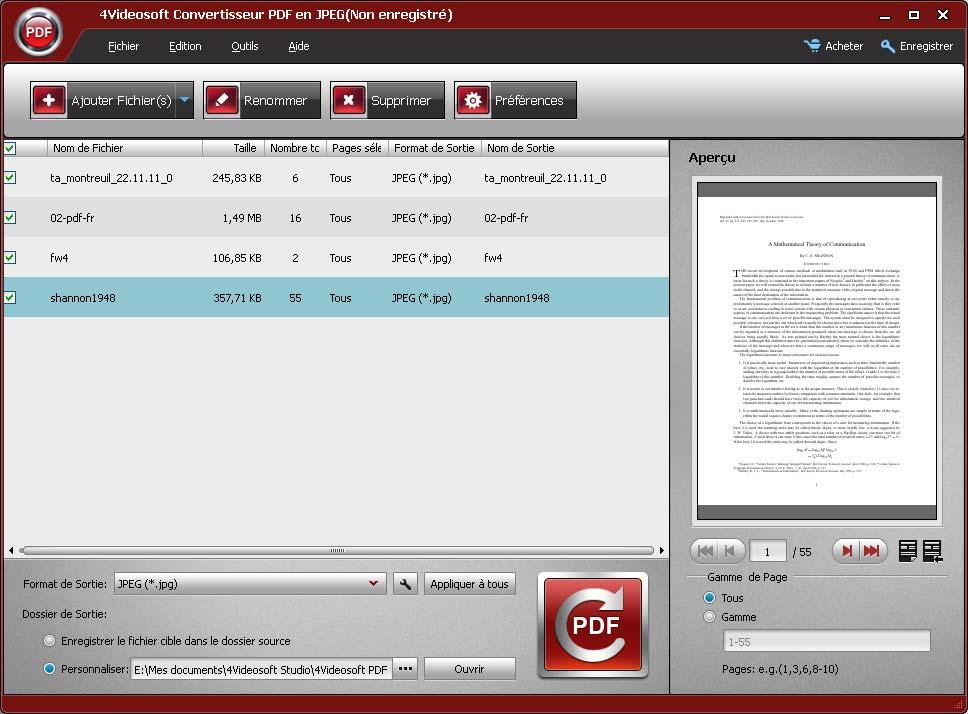 Capture d'écran 4Videosoft Convertisseur PDF en JPEG