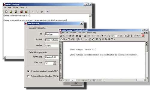 Capture d'écran Elfima Notepad