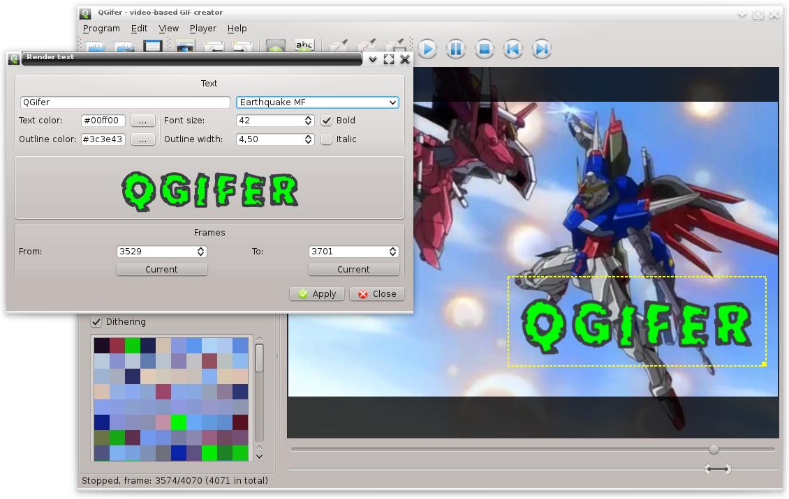 Capture d'écran Qgifer