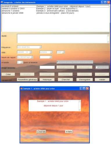 Capture d'écran Javagenda