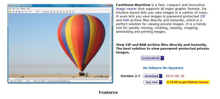 Capture d'écran FastStone MaxView