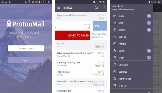 Capture d'écran ProtonMail Android