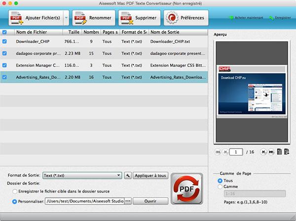 Capture d'écran Aiseesoft Mac PDF Texte Convertisseur