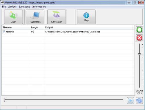 Capture d'écran MeowMidi2Mp3