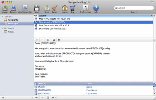 Capture d'écran iMac Mailer