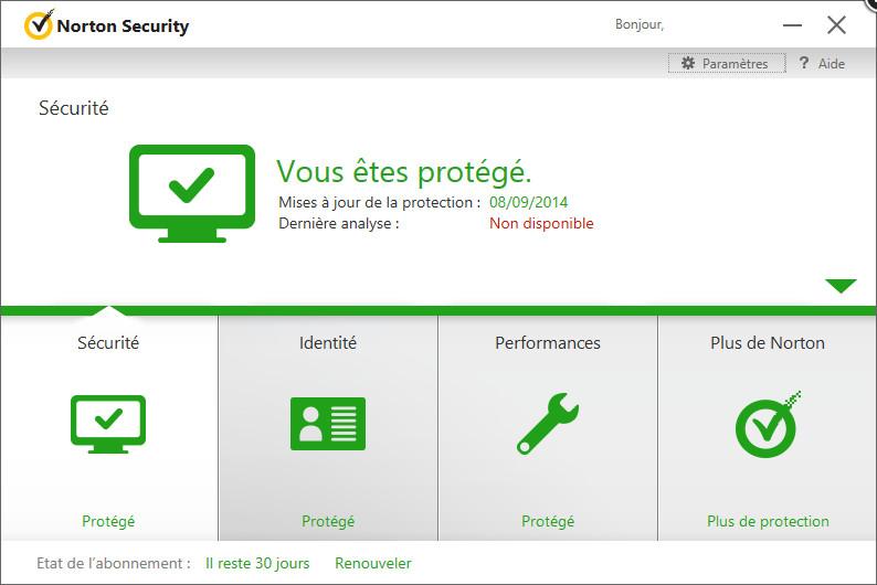 Capture d'écran Norton Antivirus