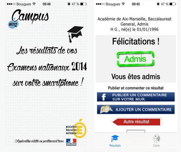 Capture d'écran Résultat Examens iOS