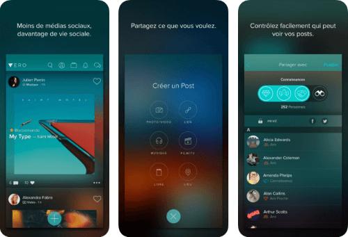Capture d'écran Vero iOS