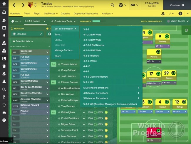 Capture d'écran Football Manager 2017