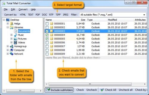 Capture d'écran Total Mail Converter