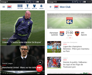 Capture d'écran RMC Sport iOS