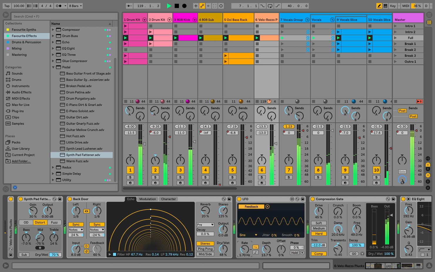 Capture d'écran Ableton Live