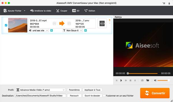 Capture d'écran Aiseesoft AMV Convertisseur pour Mac